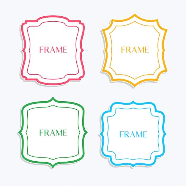 Классические рамки в стиле линии и разных цветов Бесплатные векторы