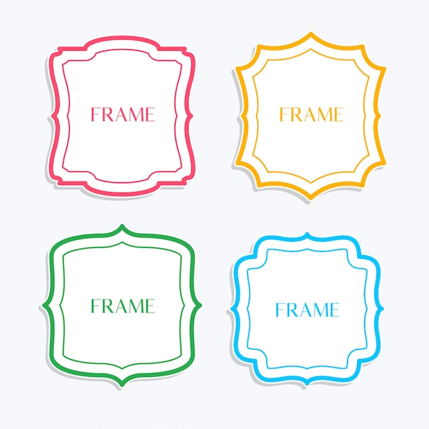Classic frames in line style and different colors Free Vector