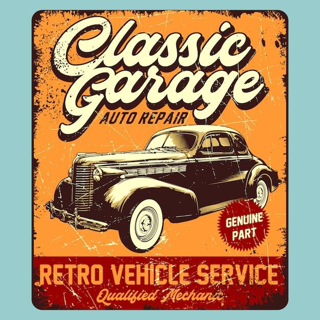 Classic garage retro graphic Premium Vector