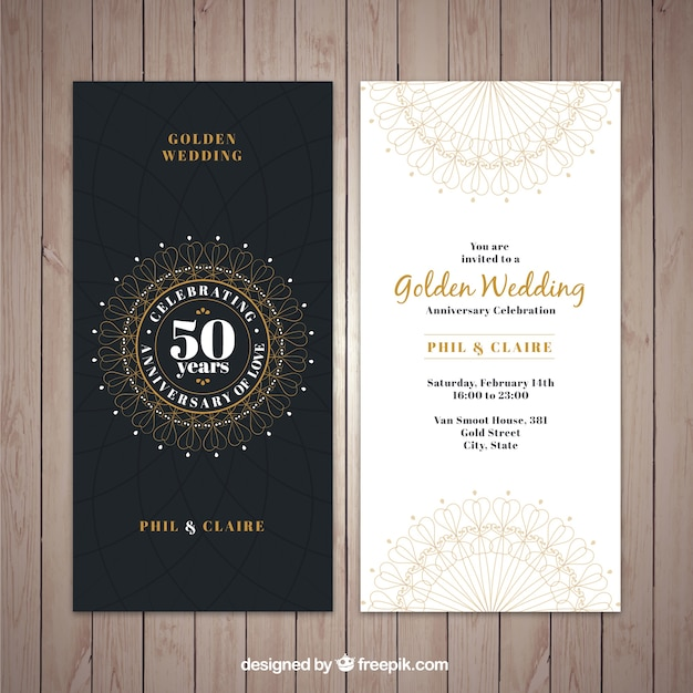 Classic golden wedding invitation Vector Free Download