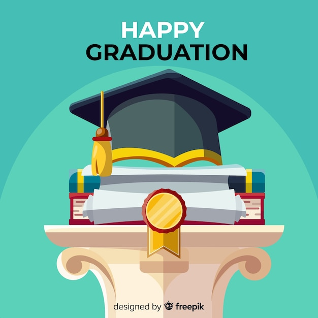 Classic graduation concept with flat design Free Vector