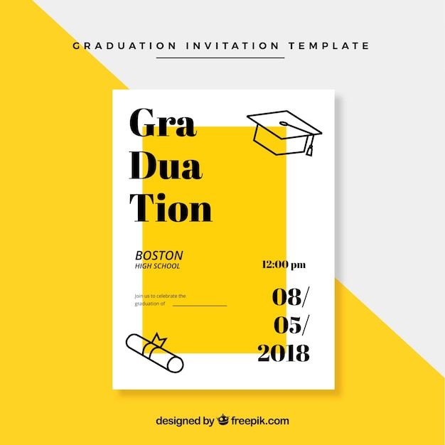classic graduation invitation template with flat design free vector