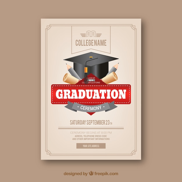 Classic graduation invitation template with realistic design Free Vector