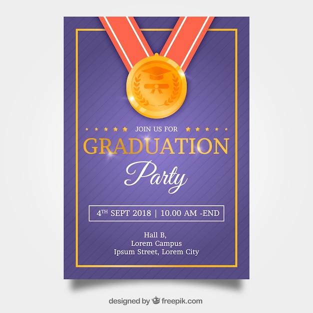 Classic graduation invitation template with realistic design Free Vector