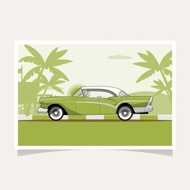 Classic green car conceptual design flat illustration vector Premium Vector