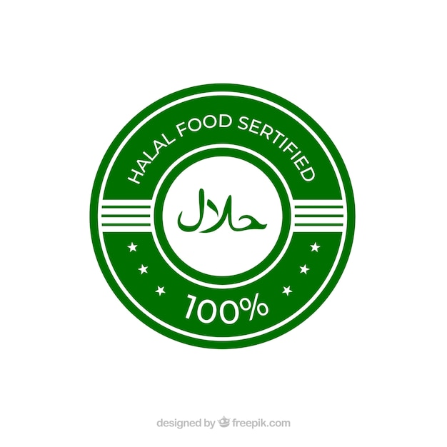 Classic green halal label with flat design Free Vector
