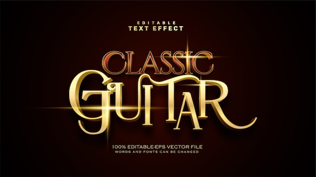 Classic guitar text effect Free Vector