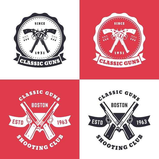 Classic guns, vintage emblems, badges with crossed revolvers Premium Vector