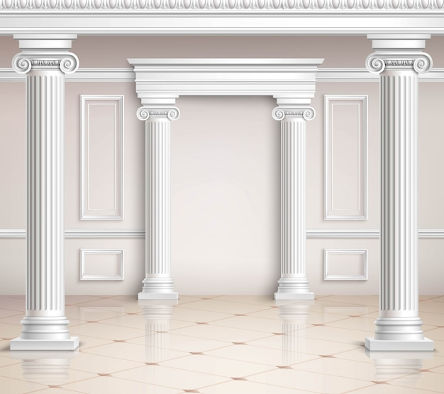 Classic hall design Free Vector