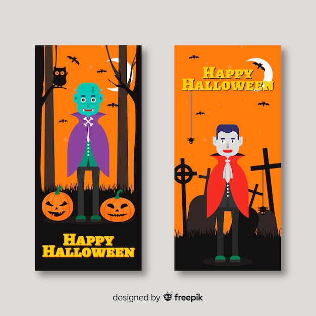 Classic halloween banners with flat design Free Vector