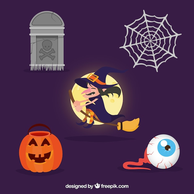 classic halloween drawings vector free download
