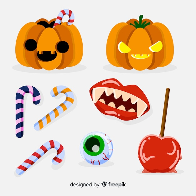 Classic halloween element collection with flat design Free Vector