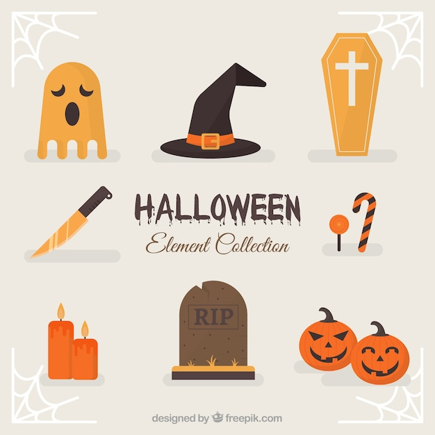 Classic halloween elements with flat design Free Vector
