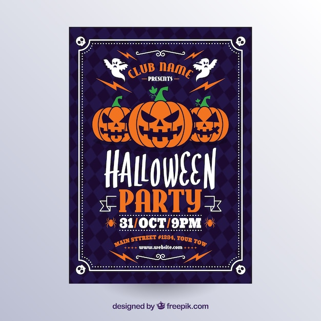 Classic halloween poster with pumpkins Free Vector