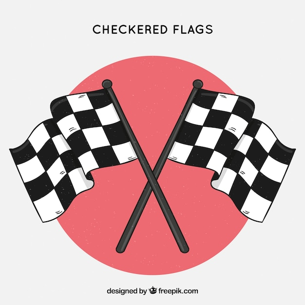 Classic hand drawn checkered flags Free Vector