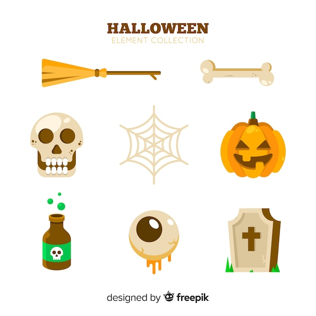 Classic hand drawn halloween element collection Free Vector