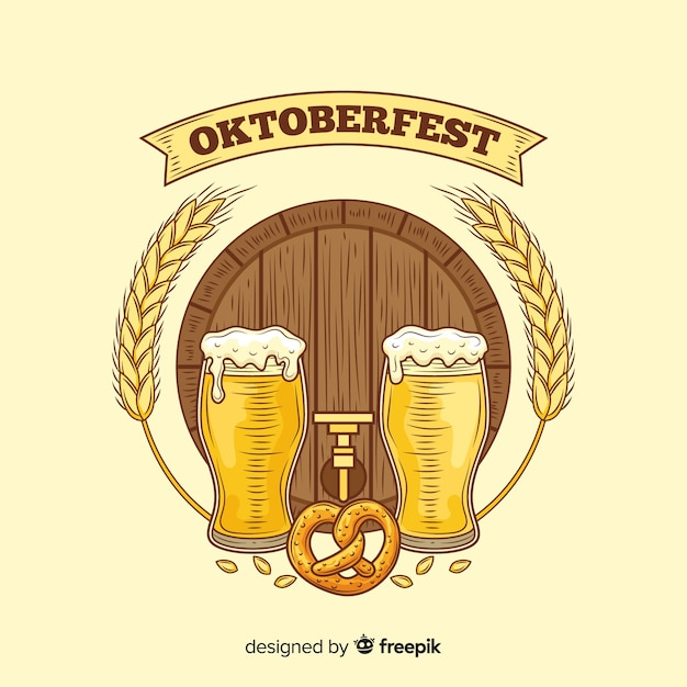 Classic hand drawn oktoberfest composition Free Vector
