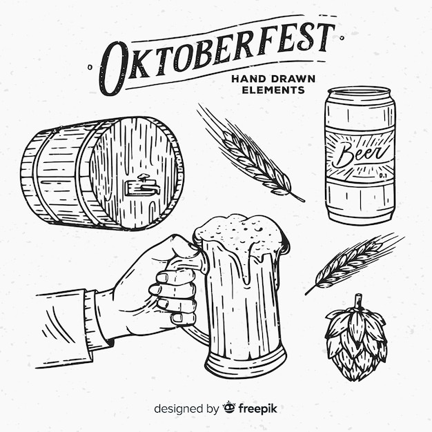 Classic hand drawn oktoberfest element collection Free Vector