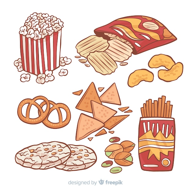 Classic hand drawn snack collection Free Vector