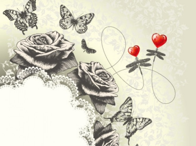 Classic hand painting art butterfly roses background Free Vector