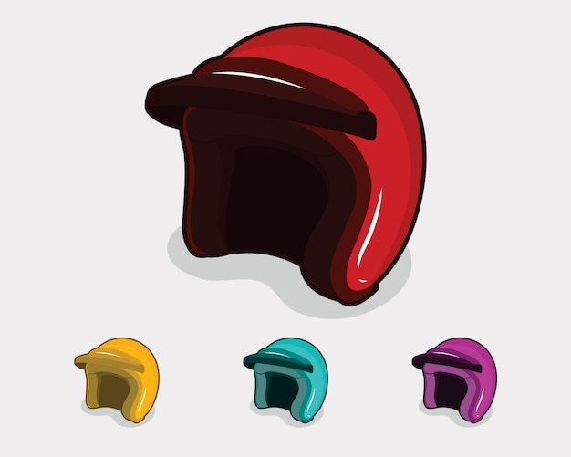 Classic helmet illustration with 4 different colors Premium Vector