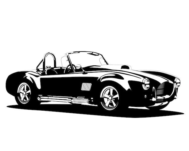 Classic hot car silhouette Premium Vector