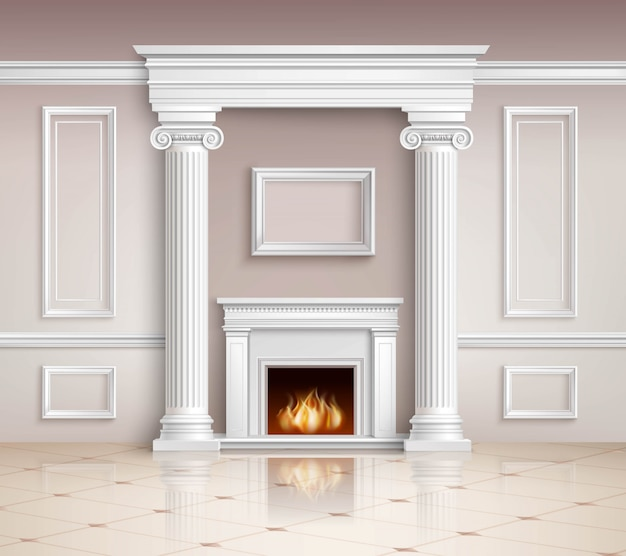 Classic interior with fireplace Free Vector