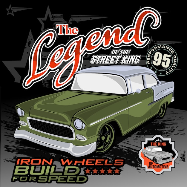 Classic king street, car vector illustration Premium Vector