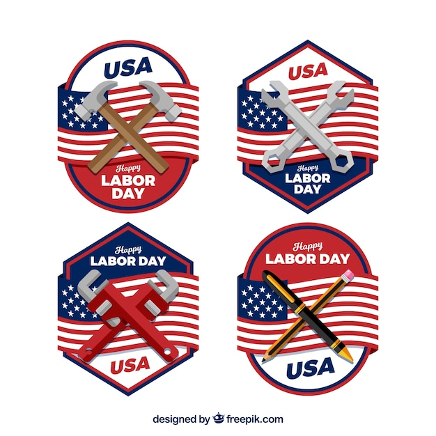 Classic labor day badge collection with flat design Free Vector