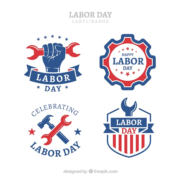 Classic labor day label collection with flat design Free Vector