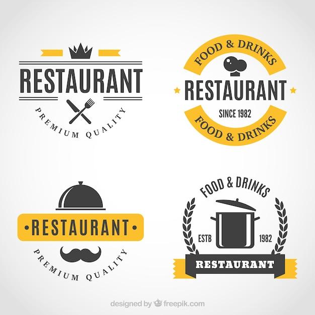 Classic logos for gourmet restaurants Free Vector