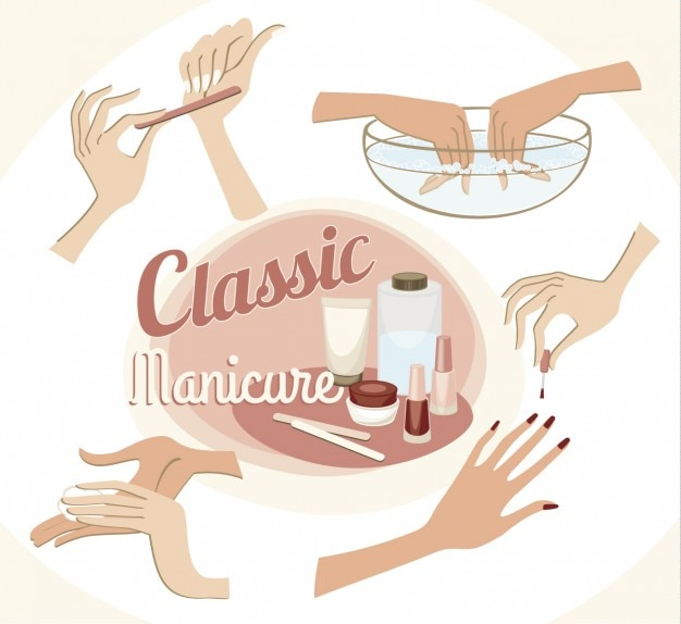 Classic manicure illustration Free Vector