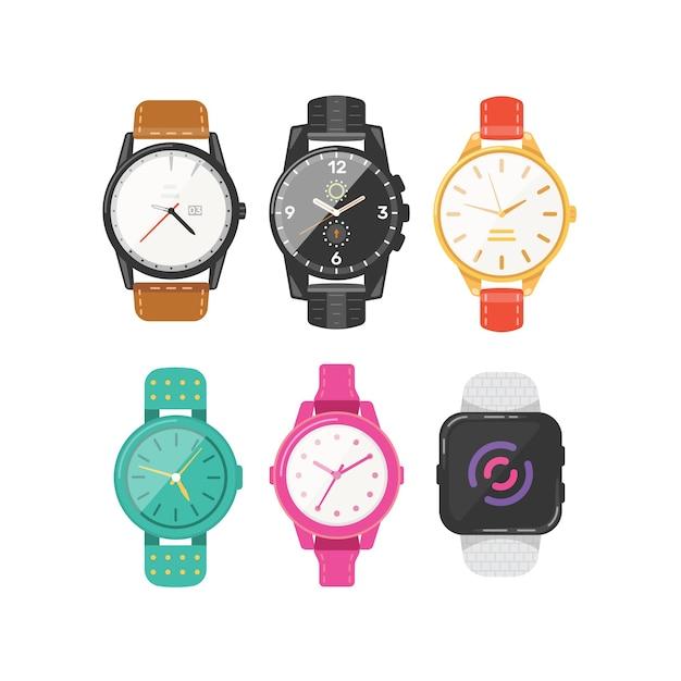 アイコンの古典的な男性と女性の時計のセット。ビジネスマン、スマートウォッチ、ファッション時計のコレクションに注目してください。 Premiumベクター