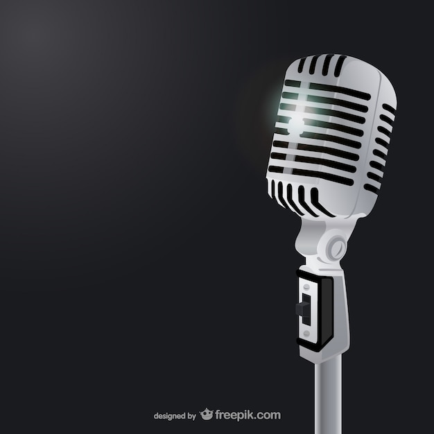 Classic microphone illustration vector Free Vector