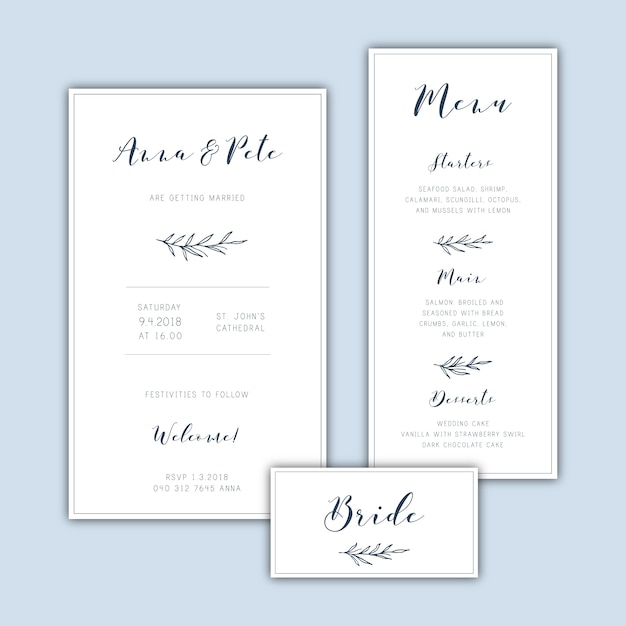 Classic Minimalist Wedding Invitation Set With Hand Drawn