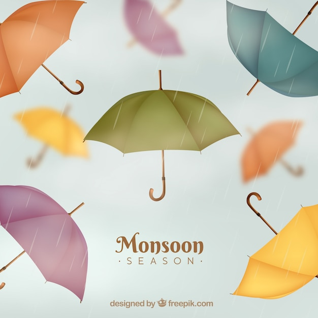 Classic monsoon season composition with\ realistic design