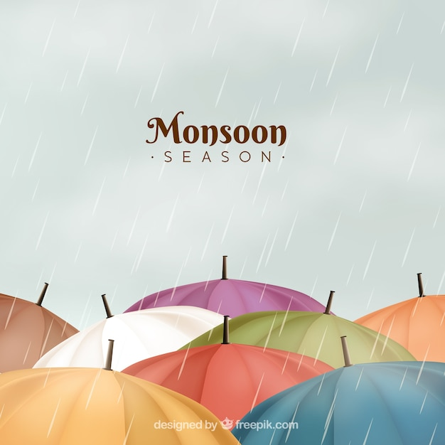 Classic monsoon season composition with realistic design Free Vector