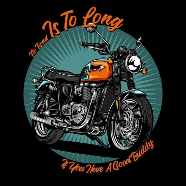 Classic motorcycle illustration Premium Vector