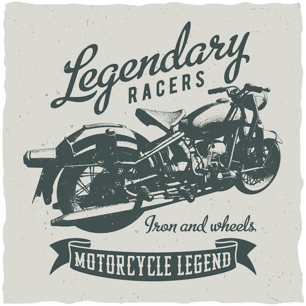 Classic motorcycle and legendary racers poster Free Vector