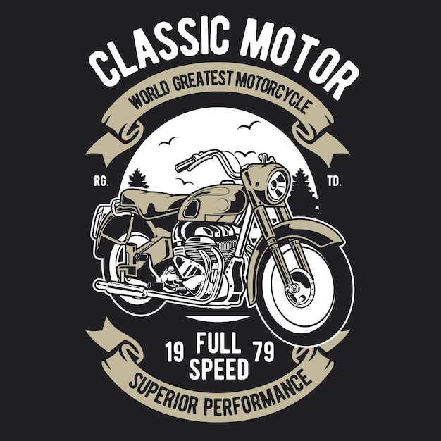 Classic motorcycle Premium Vector