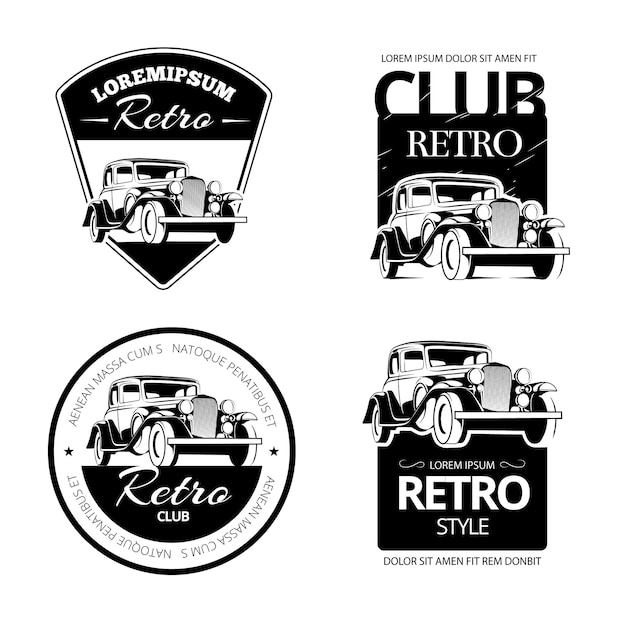 Classic muscle car vector labels, emblems and badges set.  retro vehicle, old automotive transportation logo illustration Free Vector
