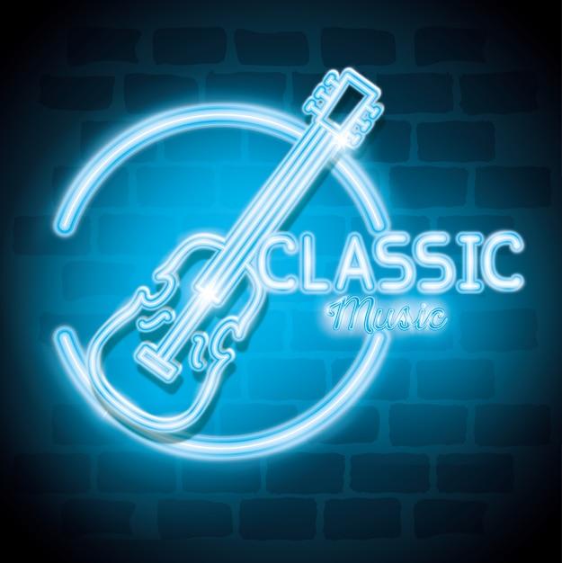 Classic music bar neon label vector illustration design Premium Vector