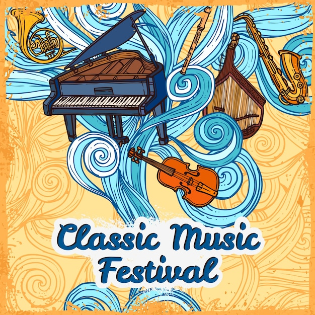 Classic music festival poster with piano violin trumpet instruments vector illustration Free Vector