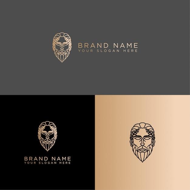 Classic mythology logo line art editable template Premium Vector