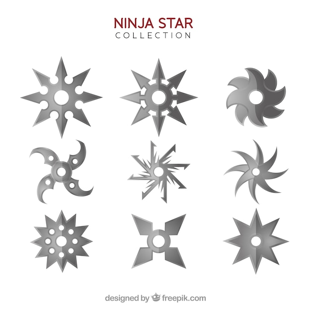Classic ninja star collection with flat design Free Vector