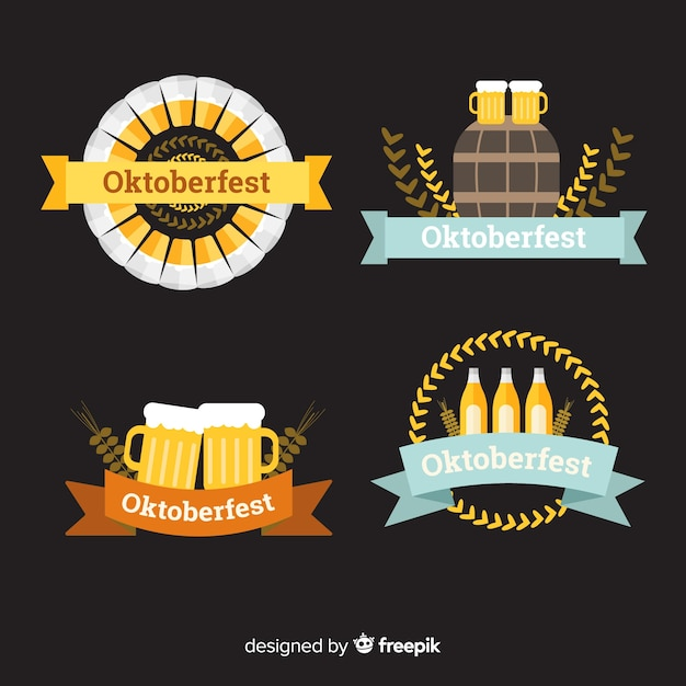 Classic oktoberfest badge collection with flat design Free Vector