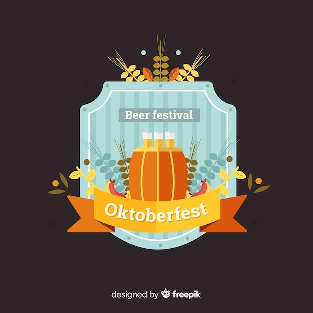 Classic oktoberfest badge with flat design Free Vector