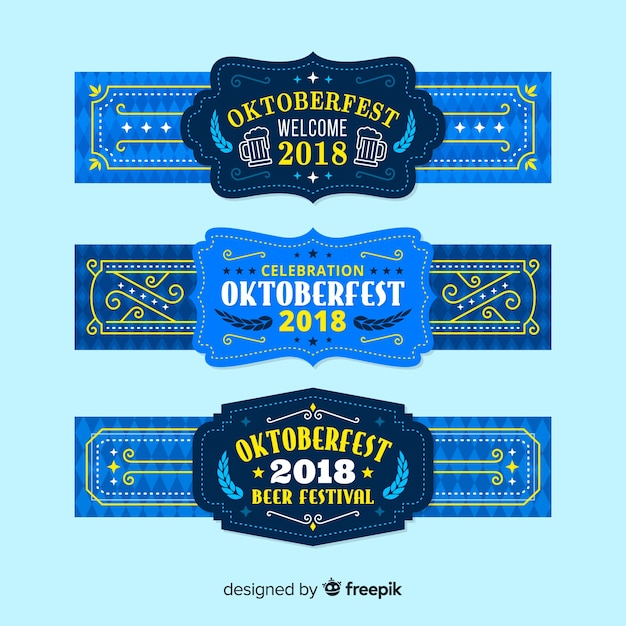 Classic oktoberfest banners with flat design Free Vector