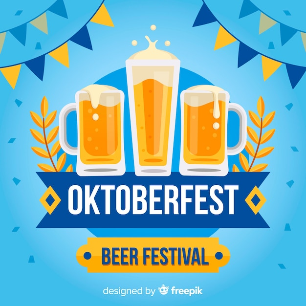 Classic oktoberfest composition with flat design Free Vector