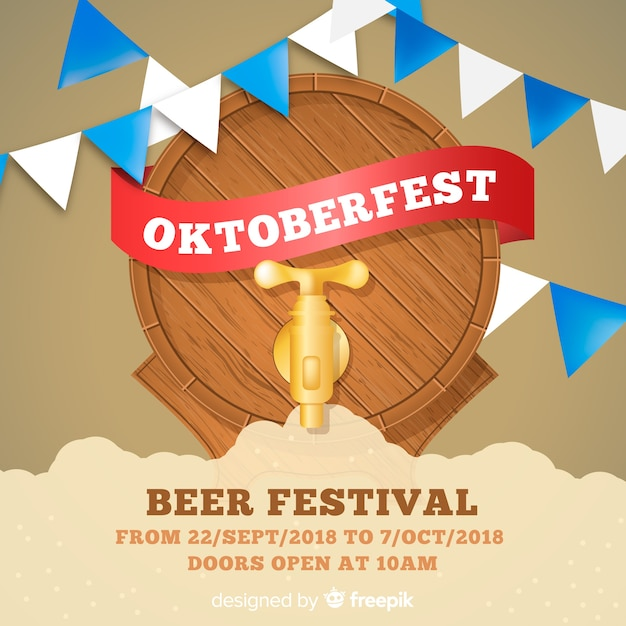 Classic oktoberfest composition with realistic design Free Vector